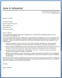 Clinical Data Management Resume Emergency Management Specialist Cover Letter