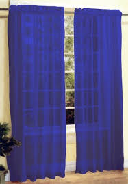 Royal Blue Curtains 2 Pc Sheer Voile Window Curtain Panel Set Royal Blue