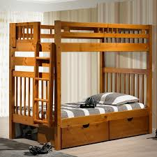 Tall Mission Style Solid Wood Bunk Bed In Honey Finish - Solid wood bunk beds