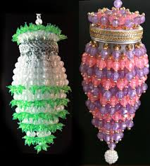 chandelier tea ball infuser xmas ornament pink purple green beaded