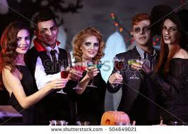 Drinking Halloween Costumes Happy Friends Drinking Shots Dj Stock Photo 243756703