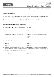 class 9 math worksheets and problems linear equations in two