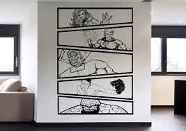 fantastic 4 vs galactus comic strip 5 panel wall art stickers fantastic 4 vs galactus comic strip wall art decals vinyl mural decal stickers by hallofheroes on etsy