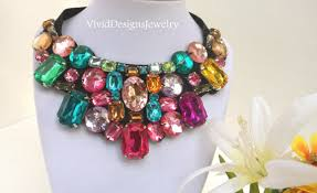 bib necklace crystal images Rainbow crystal statement necklace multi color luxury chunky bib jpg