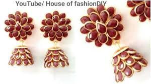 pachi work earrings how to make silk thread jumka pachi work at home simple beautiful