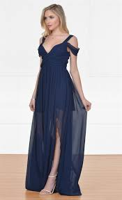 navy maxi dress xo once upon a time navy blue sleeveless the shoulder v