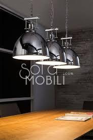 eclairage cuisine suspension luminaire suspension acier chromé industrielle luminaires les