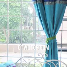 India Curtains Blue Solid Bedroom Window Curtains India Style