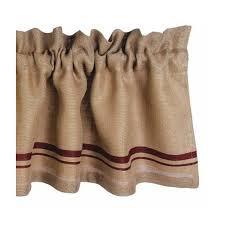 Linen Burlap Curtains Primitive Burlap Stripe Valance Barn Red Country Village Shoppe