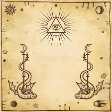 alchemical drawing winged snakes all seeing eye stock vector
