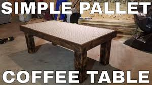pallet wood projects coffee table w diamond plate top youtube