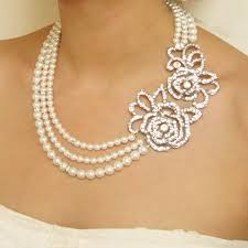 pearl rose necklace images Pearl wedding necklace vintage wedding jewelry art deco jpg