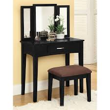 Furniture Of America Bedroom Sets Shop Furniture Of America Potterville Black Makeup Vanity At Lowes Com