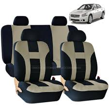 nissan murano accessories 2017 details about beige u0026 black dbl stitch seat covers u0026 bench 8pc set