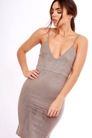 grey bodycon dress v plunge suede bodycon dress emelie