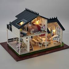 a032 3d wooden large doll house miniatura furniture wood dolls