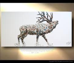 Deer Decor For Home by Elk Painting On Canvas Deer Original Artwork Home Decor Gift