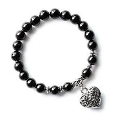 black bead bracelet with charm images Mhz jewels black onyx agate natural healing stone jpg