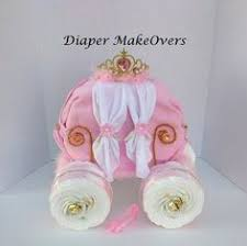 Princess Carriage Centerpiece Diaper Carriage Pink Gray Mint Green Theme Diaper Carriage