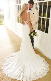 backless wedding dress trumpet mermaid strapless beading sequins lace sweep brush