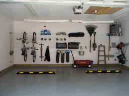 large and high ceiling car garage design painted with white large and high ceiling car garage design painted with white interior color decor concrete floor tiles and pegboard garage organization plus mounted bike