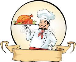 chef de cuisine vector chef cook with a dish vector thinkstock
