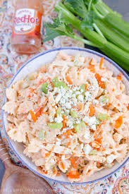 buffalo chicken pasta salad with creamy ranch and blue cheese