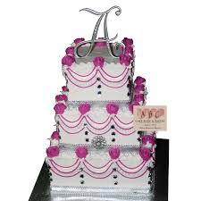 2066 3 tier square wedding cake with purple u0026 diamonds abc cake