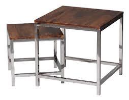 Beistelltische Landhausstil by Wohnling 2er Set Satztisch Massiv Holz Sheesham Wohnzimmer Tisch