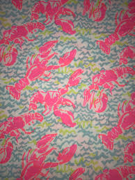 lobstah roll neon lilly pulitzer fabric by the yard 2017