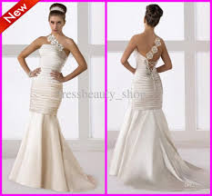 turmec one shoulder mermaid wedding dress