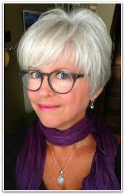 a chic model of short hairstyles for thin hair over 60 she looks great happy with her grey hair cool cut and colour