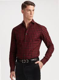 ralph lauren black label bond cotton twill check shirt in red for