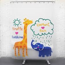 cute cartoon giraffe and elephant kids shower curtains
