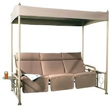 3 person outdoor gazebo swing with steel frame and teapoy tan