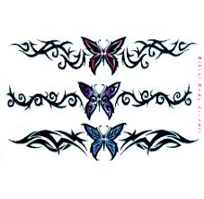 colored barbed wire and butterfly on lowerback