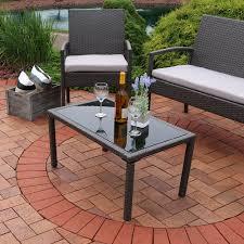 Patio Table Ls Sunnydaze Pompeii 4 Lounger Patio Furniture Set With Grey