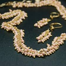 beaded coral necklace images Coral beaded chain necklace 18 inches adorned jpg