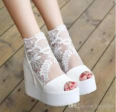 white lace wedding shoes wedge sandal silver white lace wedding boots high platform