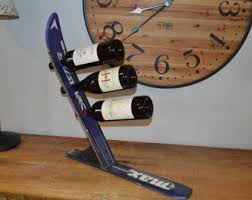 vinski a 3 bottle upcycled ski wine rack is a great accent