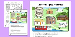 Types Of Houses Pictures Different Types Of Homes Oral Language Activity Sheet Irish