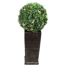 Christmas Topiaries Home Accents Holiday 3 16 Ft Pre Lit Led Boxwood Artificial