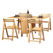 Space Saver Dining Table And Chair Set Unvarnished Oak Wood Drop Leaf Dining Table Added By Four Folding
