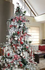 flocked christmas tree decorated rtirail decoration