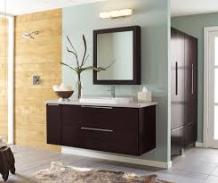 espresso wall mounted vanity cabinet in the bathroom with medicine