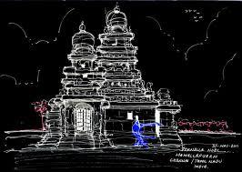 shore temple mamallapuram in tamil nadu india negative the