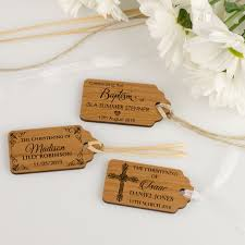 baptism engraving engraved wooden christening gift tags woodland baby shower