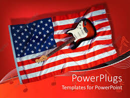 powerpoint template electric guitar sitting on american flag with