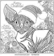coloring cat hat sitting stock vector 717953563 shutterstock