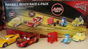 cars 3 toys disney fireball beach race 4 pk car set with sandy